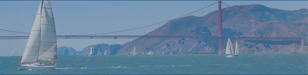 Golden gate bridge and yachts sailing in the San Francisco bay